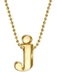 "Alex Woo - Initial ""j"" Pendant Necklace In 14k Gold - Lyst"