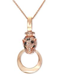 Effy Collection - Diamond (3/8 Ct. T.w.) And Emerald Accent Panther Pendant Necklace In 14k Rose Gold - Lyst