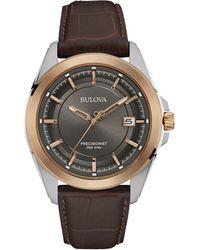 505d7858cbb Bulova - Men s Precisionist Brown Leather Strap Watch 43mm 98b267 - Lyst