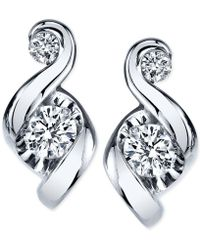 Proud Mom - Diamond Swirl Stud Earrings (1/4 Ct. T.w.) In 14k Gold Or White Gold - Lyst