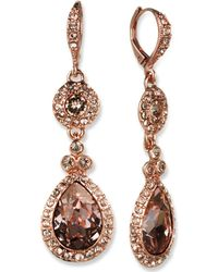 Givenchy - Earrings, Silver-tone Swarovski Element Double Drop Earrings - Lyst