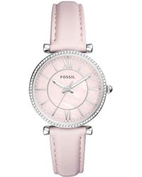 Fossil - Carlie Pastel Pink Leather Strap Watch 36mm - Lyst
