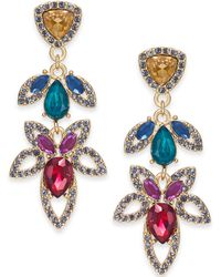 INC International Concepts - I.n.c. Gold-tone Stone & Crystal Flower Drop Earrings, Created For Macy's - Lyst