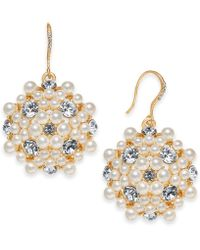 Charter Club - Gold-tone Crystal & Imitation Pearl Flower Drop Earrings, Created For Macy's - Lyst