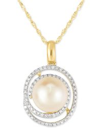 "Macy's - Cultured Freshwater Pearl (9mm) & Diamond (1/4 Ct. T.w.) Spiral 18"" Pendant Necklace In 10k Gold - Lyst"