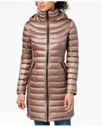 e9fa1694454f Lyst - Calvin Klein Hooded Quilted Packable Down Puffer Coat in Gray