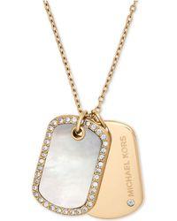 Michael Kors | Gold-tone Pavé & Black Stone Dog Tags Pendant Necklace | Lyst
