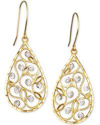 Macy's | Two-tone Filigree Teardrop Drop Earrings In 10k Gold | Lyst