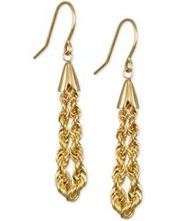 Macy's - Rope Chain Drop Earrings In 10k Gold - Lyst