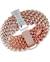 Macy's - Diamond Accent Mesh-look Statement Ring In 14k Rose Gold-plated Sterling Silver - Lyst