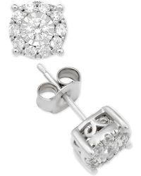 Macy's - Diamond Halo Stud Earrings (1 Ct. T.w.) In 14k White Gold - Lyst