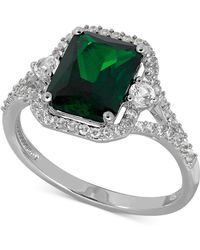 Macy's | Lab-created Emerald (2-1/10 Ct. T.w.) And White Sapphire (3/8 Ct. T.w.) Ring In Sterling Silver | Lyst