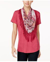 Style & Co. - T-shirt With Detachable Scarf - Lyst