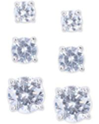 Nine West - Silver-tone Crystal Small To Large Trio Earring Set - Lyst