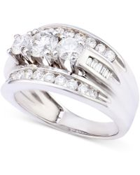 Macy's - Diamond Channel-set Engagement Ring (2 Ct. T.w.) In 14k White Gold - Lyst