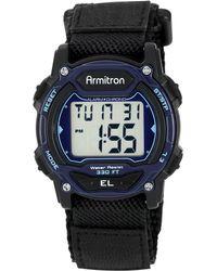 Armitron - Women's Digital Black Nylon And Leather Strap Watch 40mm 45-7004blu - Lyst