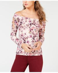 Guess - Catrina Off-the-shoulder Laced Top - Lyst