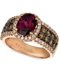 Le Vian - ® Raspberry Rhodolite® Garnet (1-7/8 Ct. Chocolate Diamond (3/4 Ct. T.w.) And White Diamond (3/8 Ct. T.w.) Oval In 14k Rose Gold - Lyst