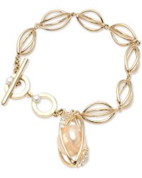 Carolee - Gold-tone Crystal & Imitation Pearl Flex Bracelet - Lyst