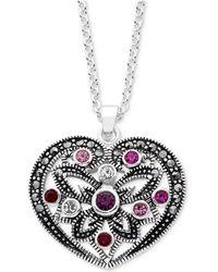 "Macy's - Marcasite & Crystal Heart 18"" Pendant Necklace In Fine Silver-plate - Lyst"