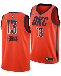 super popular f6d54 6ee84 Nike Paul George Icon Edition Authentic Jersey (oklahoma City Thunder) Nba  Connected Jersey in Blue for Men - Lyst