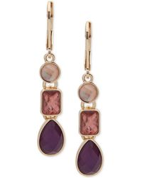 Nine West - Triple-stone Linear Drop Earrings - Lyst