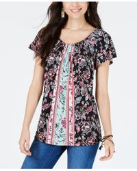 cd6c6311483 Style & Co. Plus Size Border-print Cold Shoulder Top, Created For Macy's in  Blue - Lyst