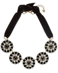 Charter Club - Gold-tone Jet & Clear Crystal Velvet Statement Necklace - Lyst