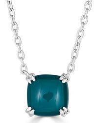 """Macy's - Green Agate Curved Claw 18"""" Pendant Necklace In Sterling Silver - Lyst"""