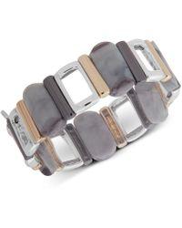 Nine West - Tri-tone & Stone Stretch Bracelet - Lyst