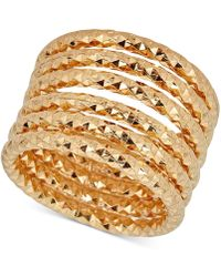 Macy's - Textured Multi-band Ring In 14k Gold-plated Sterling Silver - Lyst