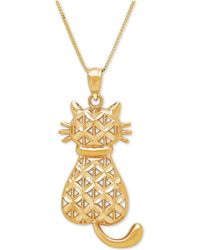 Macy's - Textured Backwards Kitty Cat Pendant Necklace In 14k Gold - Lyst