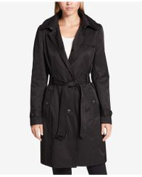 DKNY - Hooded Belted Trench Coat - Lyst