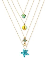 "Betsey Johnson - Gold-tone 4-pc. Set Multi-stone Sealife Pendant Necklaces, 15-1/2"" + 3"" Extender - Lyst"