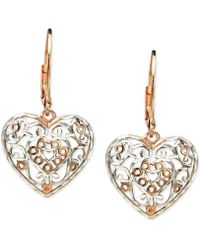 Giani Bernini - Two-tone Filigree Heart Drop Earrings In Sterling Silver & 18k Rose Gold-plate, Created For Macy's - Lyst