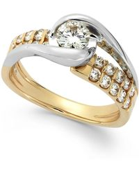 Sirena - Diamond Two-row Engagement Ring In 14k Gold (7/8 Ct. T.w.) - Lyst
