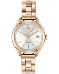 Citizen - Women's Rose Gold-tone Stainless Steel Bracelet Watch 34mm - Lyst