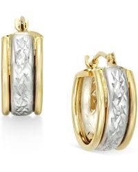 Macy's - Diamond-cut Hoop Earrings In 10k Two-tone Gold - Lyst