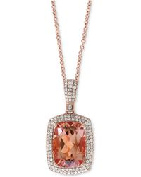 "Effy Collection - Effy® Morganite (6-1/3 Ct. T.w.) & Diamond (1/2 Ct. T.w.) 18"" Pendant Necklace In 14k Rose Gold - Lyst"