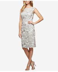 Alex Evenings - Petite Embroidered Illusion Dress - Lyst