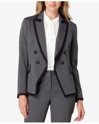 Tahari - Double-breasted Contrast-trim Jacket - Lyst