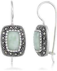 Macy's - Jade (9 X 6mm) & Marcasite Rectangle Earrings In Sterling Silver - Lyst