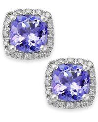 Macy's | Tanzanite (1-5/8 Ct. T.w.) And Diamond (1/8 Ct. T.w.) Square Stud Earrings In 14k White Gold | Lyst