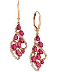 Le Vian - Certified Passion Rubytm (3-1/3 Ct. T.w.) & Diamond (1/3 Ct. T.w.) Drop Earrings In 14k Rose Gold - Lyst
