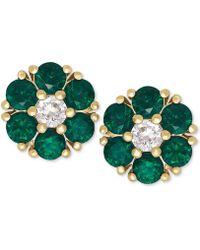 Macy's - Emerald (9/10 Ct. T.w.) And White Sapphire (1/6 Ct. T.w.) Flower Stud Earrings In 14k Gold - Lyst