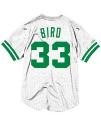 42dbd0f96 Mitchell   Ness - Larry Bird Boston Celtics Name And Number Mesh Crewneck  Jersey - Lyst