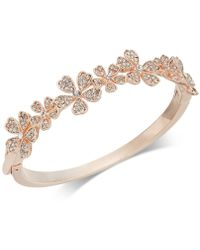 Charter Club - Rose Gold-tone Crystal Flower Bangle Bracelet, Created For Macy's - Lyst