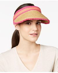 August Accessories - Colorblocked Straw Visor - Lyst