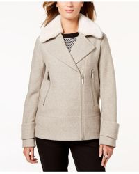 Laundry by Shelli Segal - Faux-fur-collar Coat - Lyst