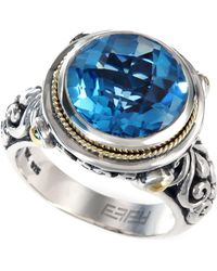 Effy Collection - Blue Topaz Round Ring In 18k Gold And Sterling Silver (5-3/4 Ct. T.w.) - Lyst